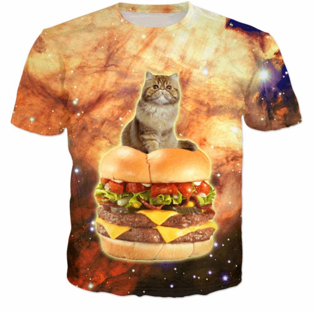 to Buy Burger Cat T Shirt 3d Uni tee Summer t shirt