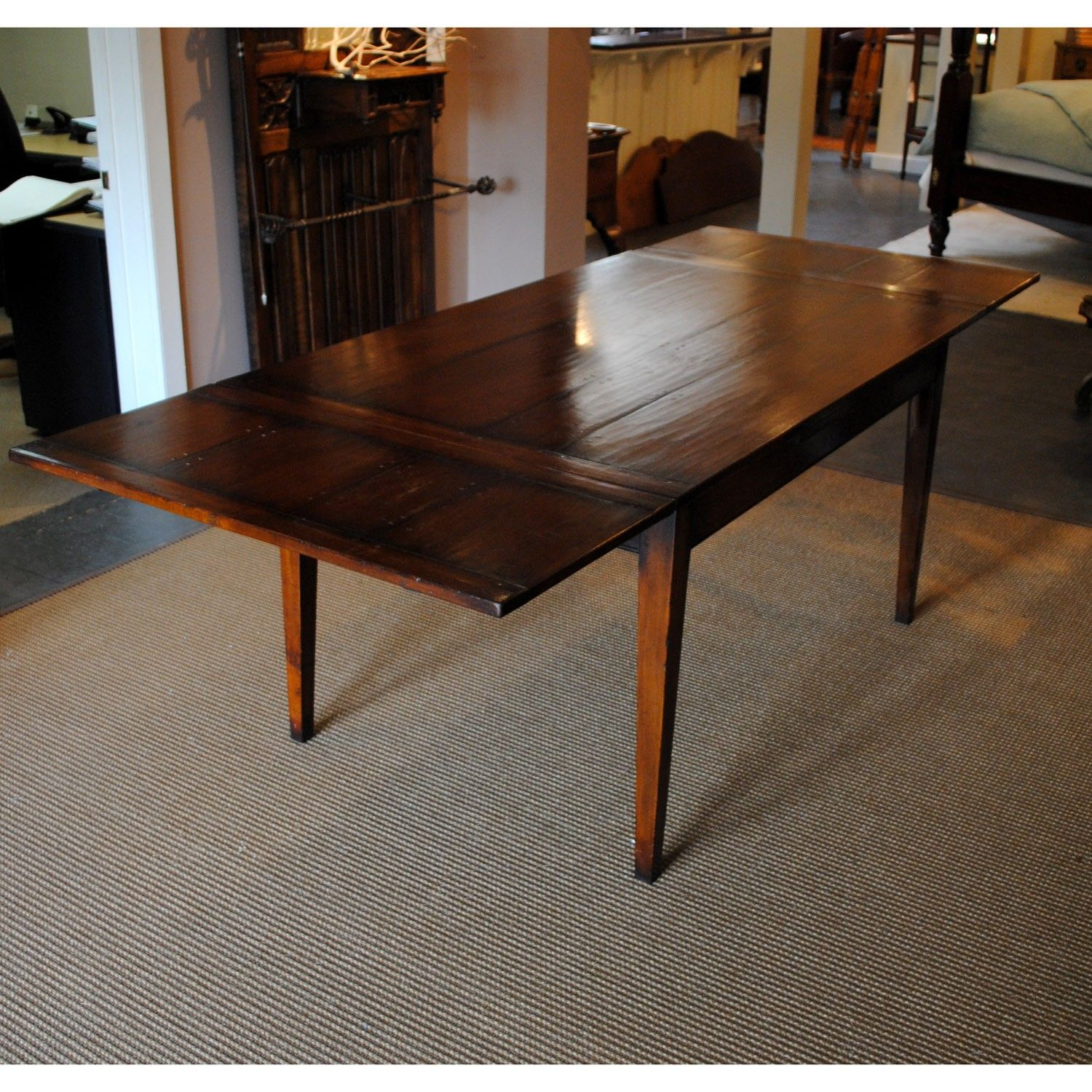 6 french tapered leg farmhouse table shown in reclaimed