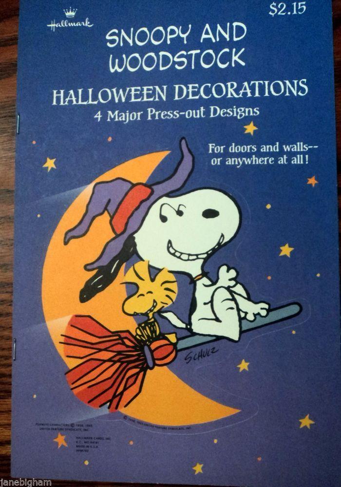 hallmark snoopy woodstock press out die cut halloween decorations - Hallmark Halloween Decorations