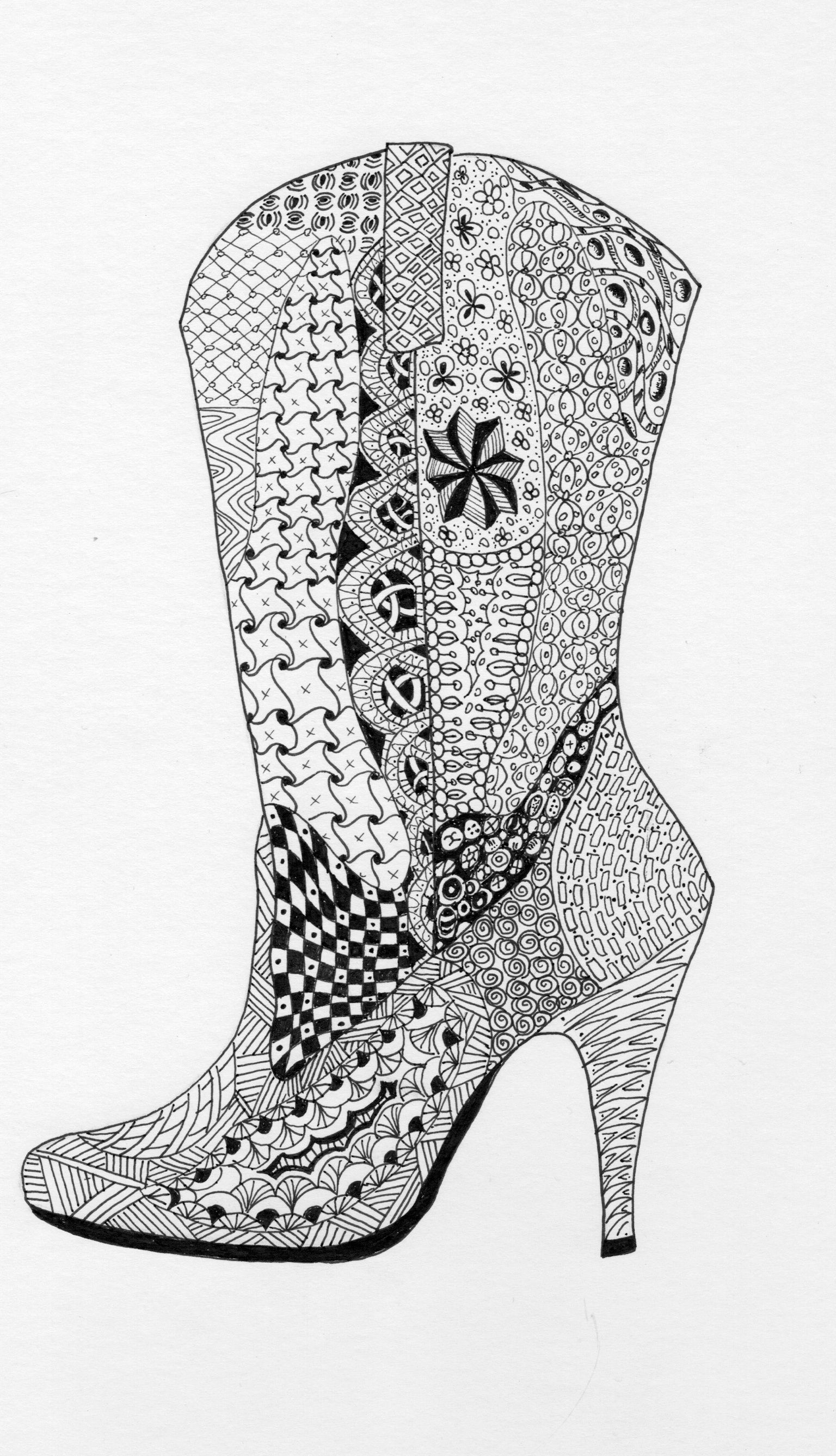 Cowgirl boot zentangle | Shoes Coloring Pages for Adults | Pinterest ...