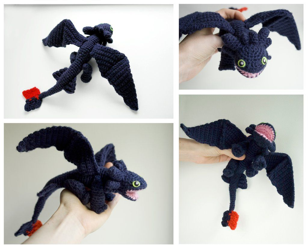 Toothless Dragon Amigurumi Pattern : Toothless dragon crochet amigurumi doll by tinyalchemy on