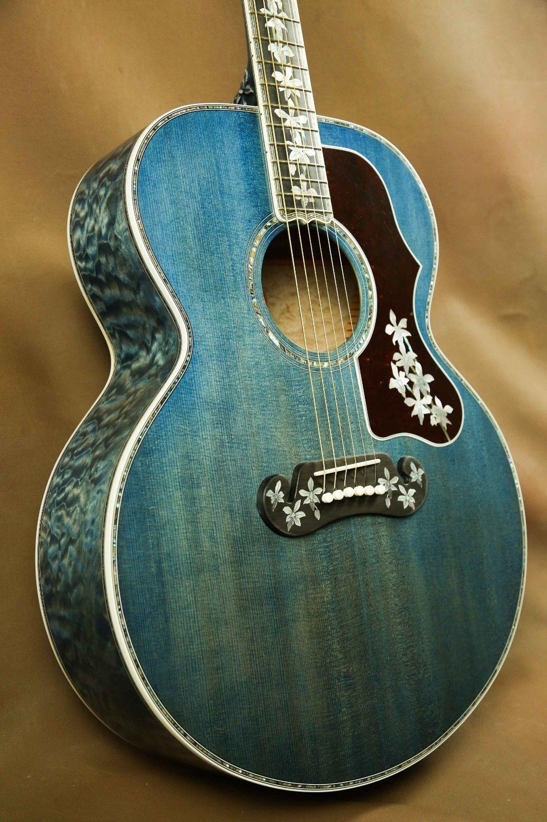 Gibson Master Museum Sj 200 Ren Ferguson Custom Trans Blue Acoustic Guitar J 200 Blue Acoustic Guitar Acoustic Guitar Art Custom Acoustic Guitars