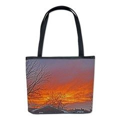 Glowing Red Sky Sunsets Bucket Bag