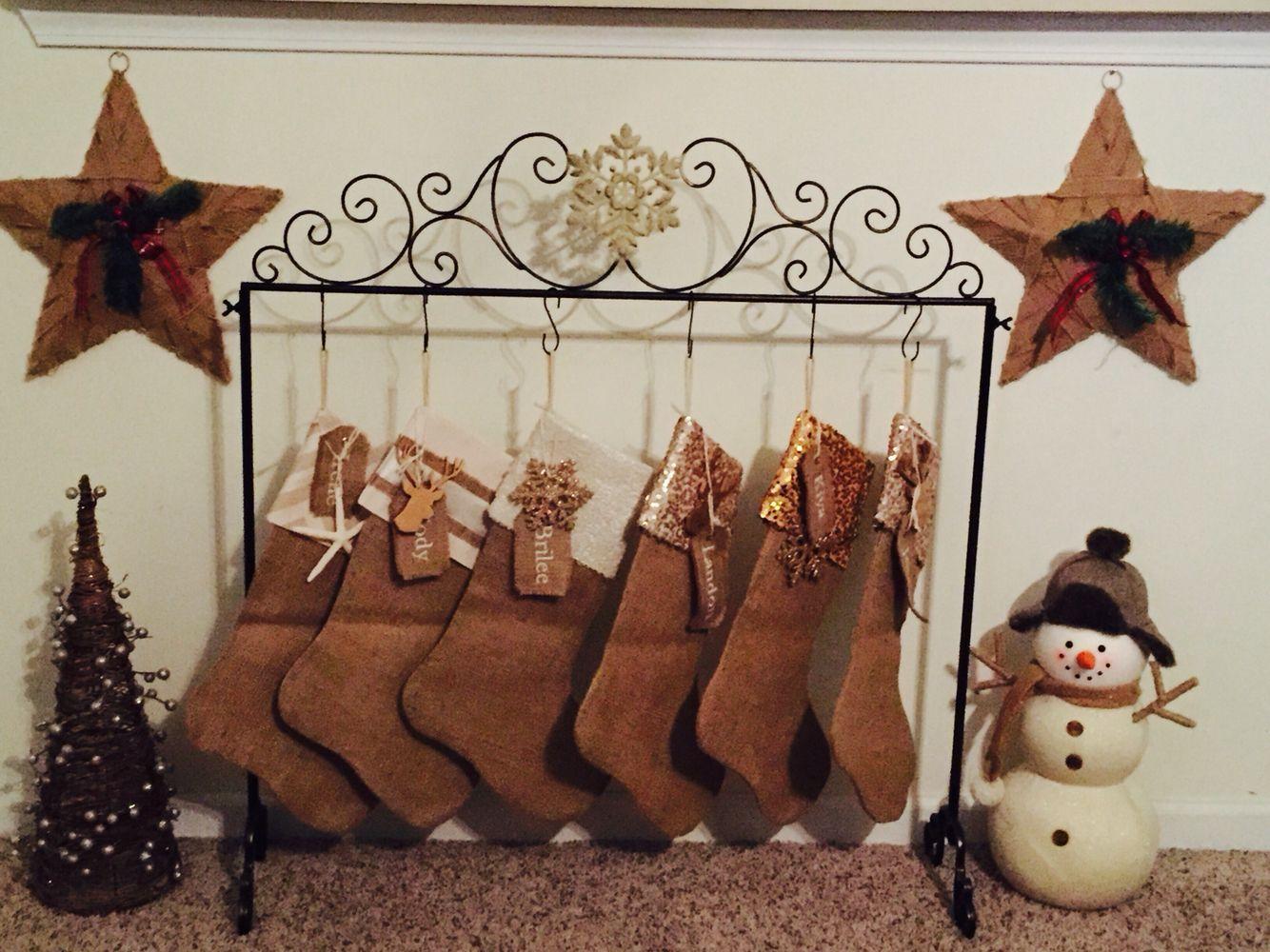 Stockings from etsy, stocking holder from Kirklands