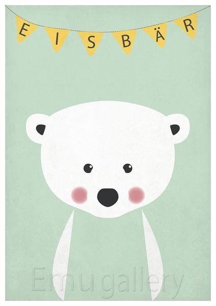 Kinderzimmer Poster, Eisbär, Kinderzimmer Bild