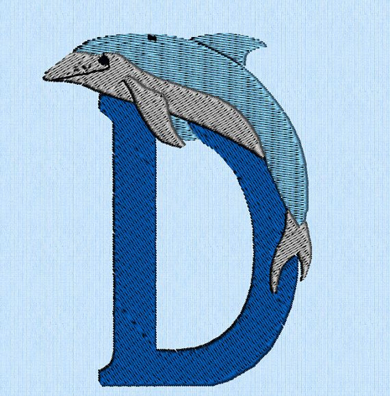 D is for Dolphin machine embroidery design file by lynellen, $3.00