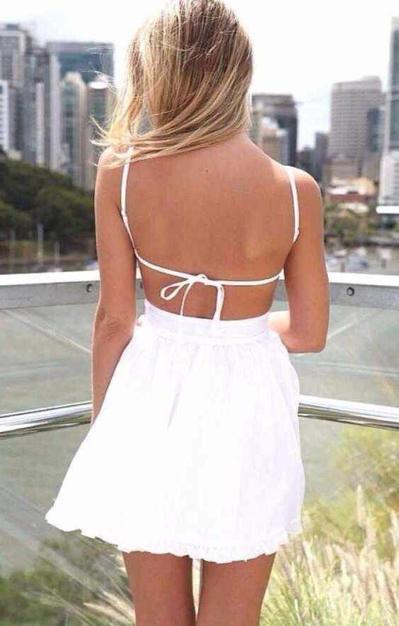 White V-neck Backless Spaghetti Strap Sleeveless Chiffon Dress