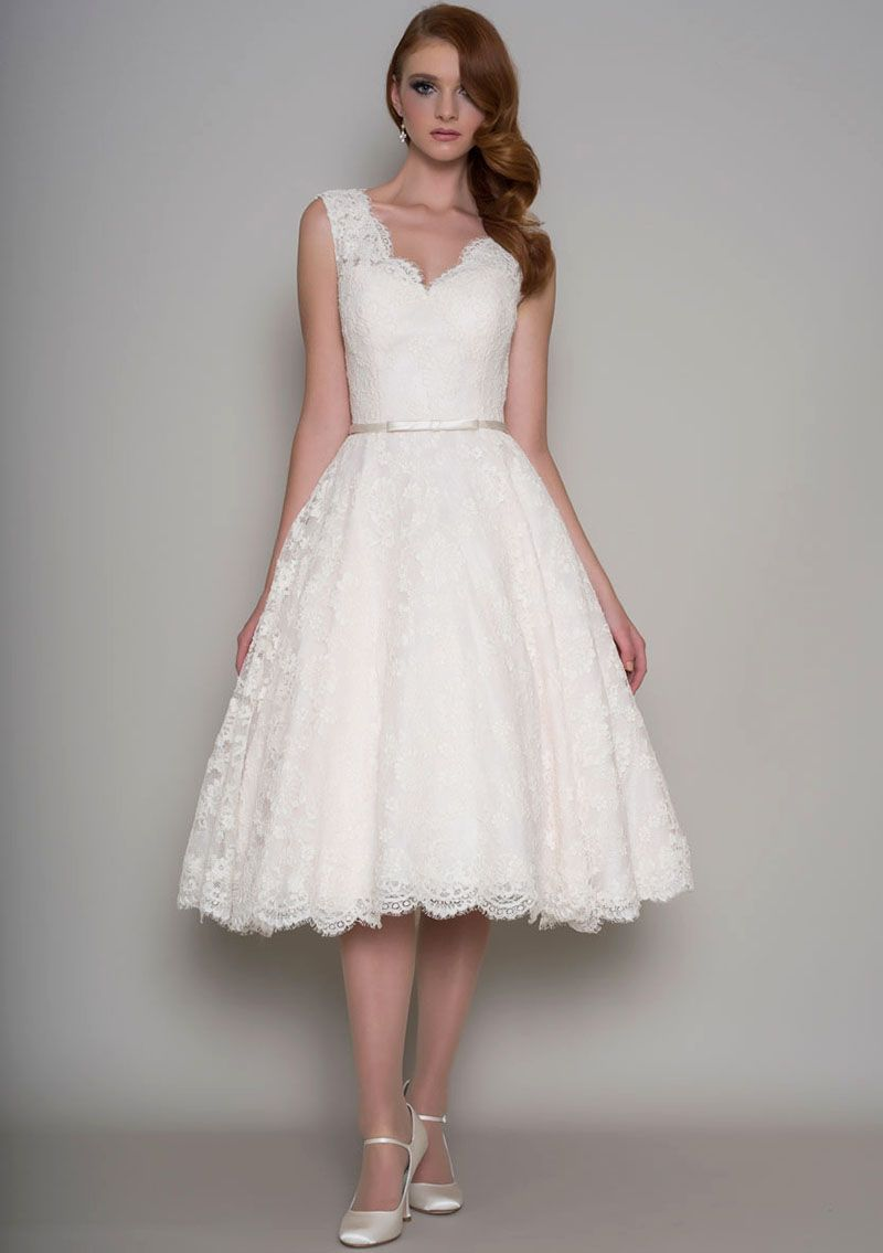 Alluring tea length lace wedding dress with ivory corded lace ...