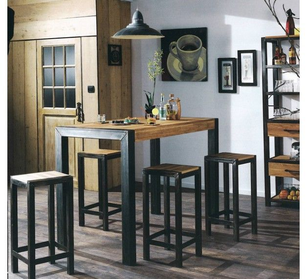 mange debout snack bois et m tal manufacture deco pinterest mange debout manger et bois. Black Bedroom Furniture Sets. Home Design Ideas