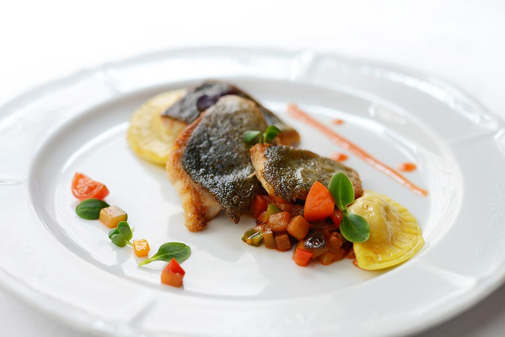 Rainbow Trout Fillet baked with Vegetable Ratatouille  and homemade Pumpkin Ravioli