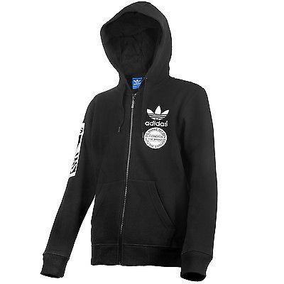 Adidas Street Graphic Full Zip Hoody Mens AB8030 Black Hoodie Sweatshirt Size M