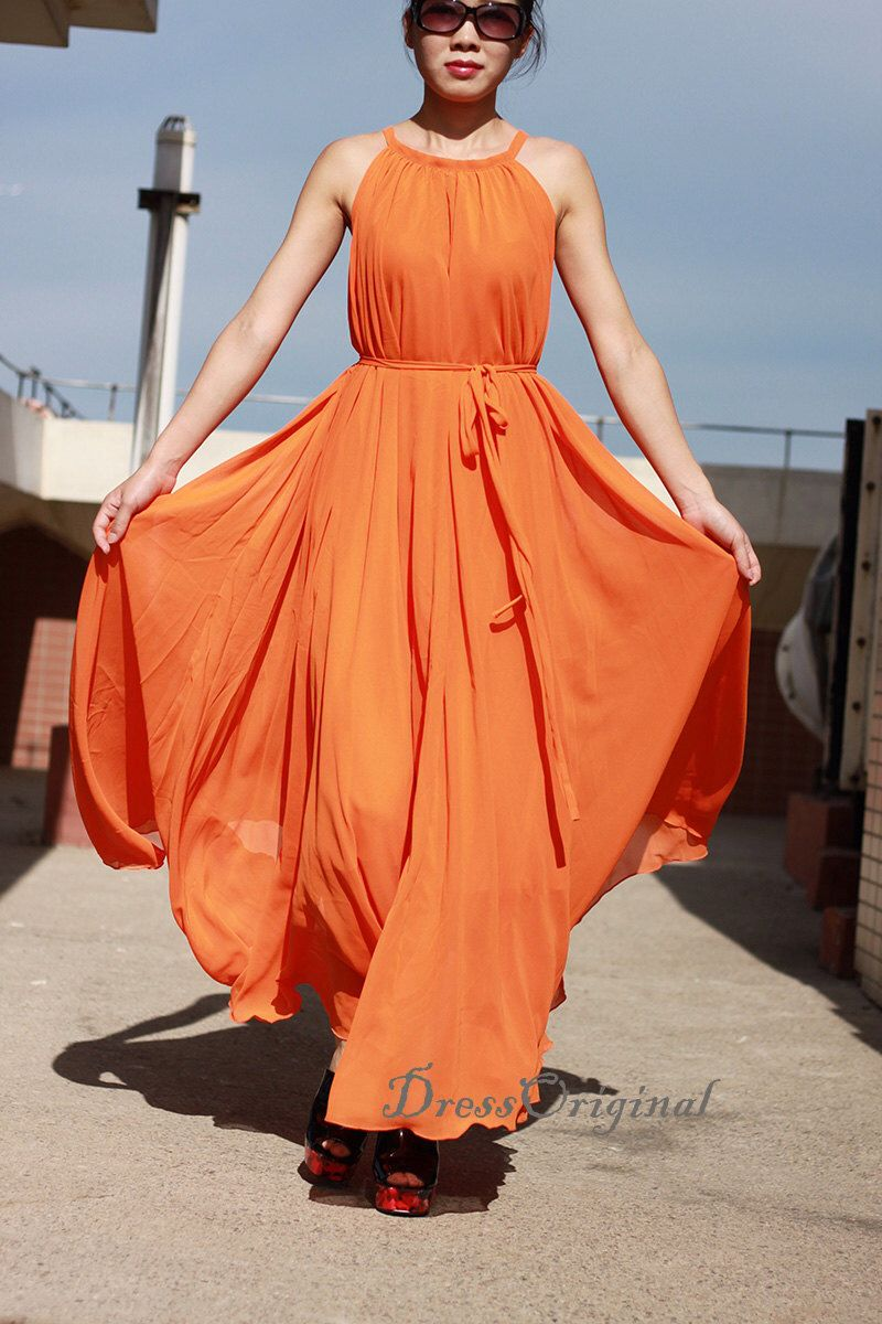 Maxi dress,Long dress, orange chiffon dress, orange summer dress ...