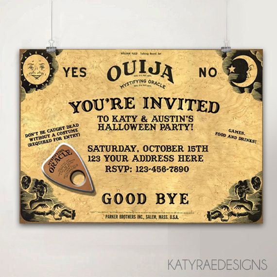picture about Printable Ouija Boards titled Personalized Printable Ouija Board Invitation, Halloween Get together