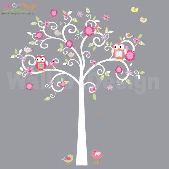 Custom Listing Curly Flower Tree with Owls and Birds - Nursery Vinyl Wall Decal