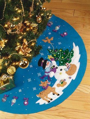 Frosty's Favorite Janlynn Christmas Tree Skirt Kit Family Christmas  Stockings, Christmas Felt Crafts, Christmas - Frosty's Favorite Janlynn Christmas Tree Skirt Kit Christmas Tree