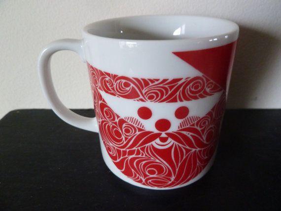 Vintage Mid Century Modern Christmas Santa Coffee Mug by MintyKeen, $15.00