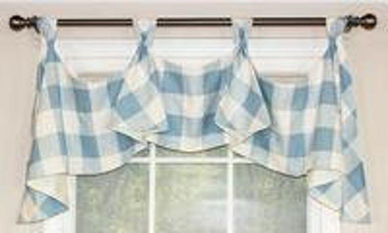 Buffalo Check Tab Flounce Valance Panel Or Pillow Etsy Window Coverings Diy Decorative Curtain Rods Valance