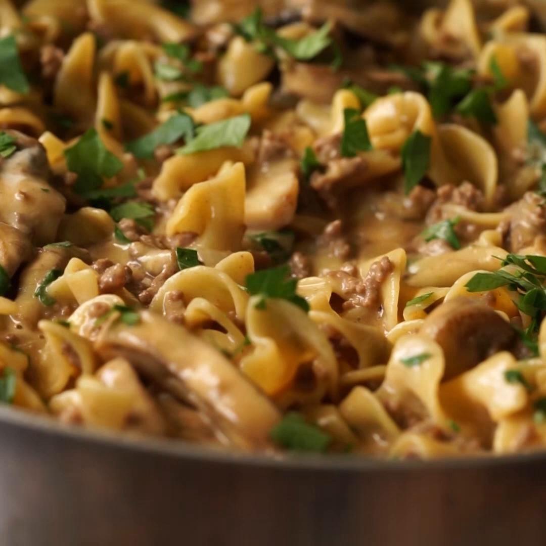 One Skillet Ground Beef Stroganoff Recipe By Tasty Recipe Ground Beef Stroganoff Beef Stroganoff Ground Beef