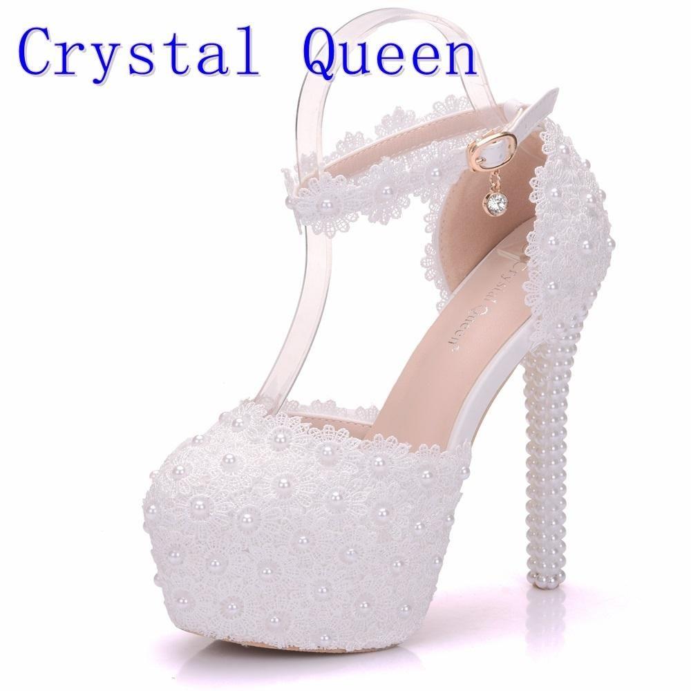 White Lace Flower Bridal Shoes High Heel Round Toe Wedding Pumps Ankle  Straps Sandals Bridesmaid Shoes b0fbd8992eb9