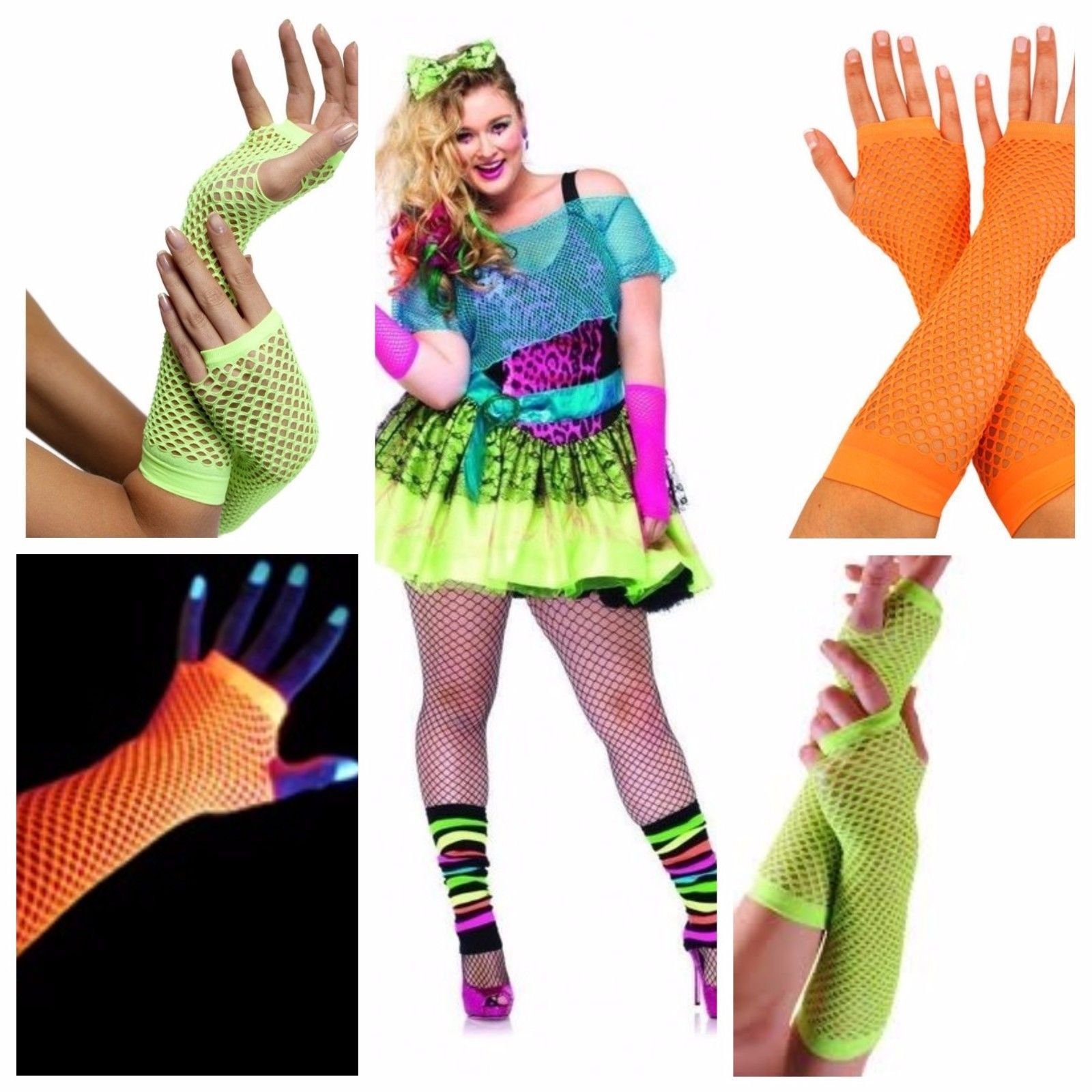 Mesh Fishnet Gloves *Different Colours* Costume Party Goth Punk Rock Fancy Dress