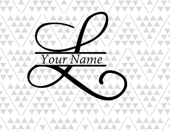 Monogram letter L, Split letter L, silhouette files, digital cut