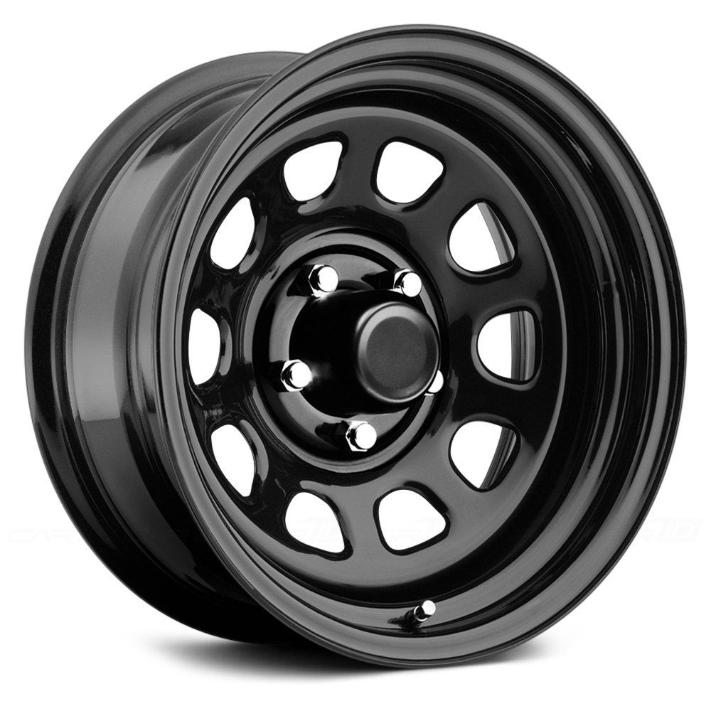 51 Gloss Black Powdercoat Wheels By Pro Comp 17 X 8 6 Offset 6x139 7 Bolt Pattern 108mm Hub Sku 579733 Black Steel Wheels Black Wheels Steel Wheels