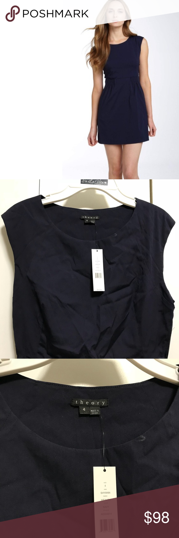 31c862d2ac Theory Navy Blue Dress Sz 4 Theory- Shyann wealth style dress with an  elastic band a little bit above the wait. Length 31. RN 98406.