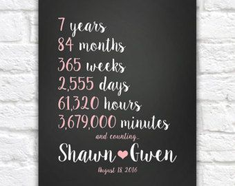 Any Year Anniversary Gift Wedding 7th 7 Countdown Time Spent Together
