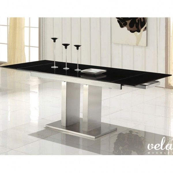 Mesa para comedor extensible de comedor con cristal negro Combina