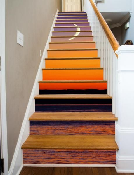 Artwork for your stairway - Moon Stairs evokes the serenity of a quiet sunset over the lake
