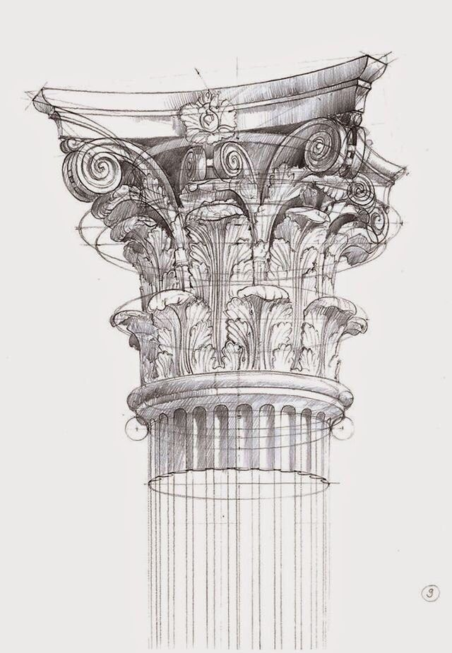 Corinthian Arquitectura Arte Bocetos Arquitectonicos Dibujo