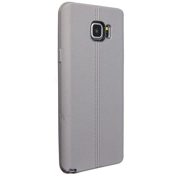 Slim Dual-lines Grain Gel Soft Silicon TPU Back Case for Samsung Galaxy Note 5
