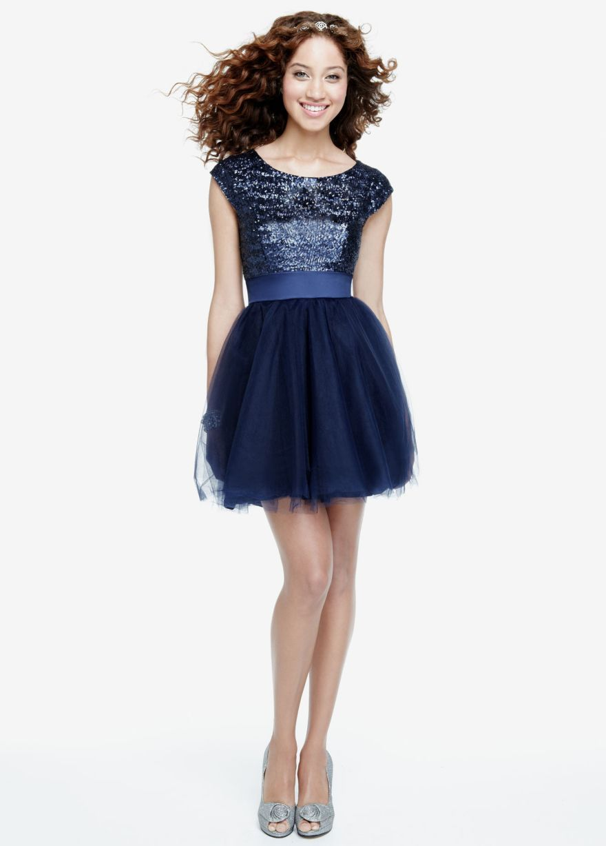 Cap sleeve sequin bodice dress with tulle skirt davidus bridal