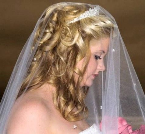 Wedding Hairstyles For Long Hair Half Up With Veil And Tiara