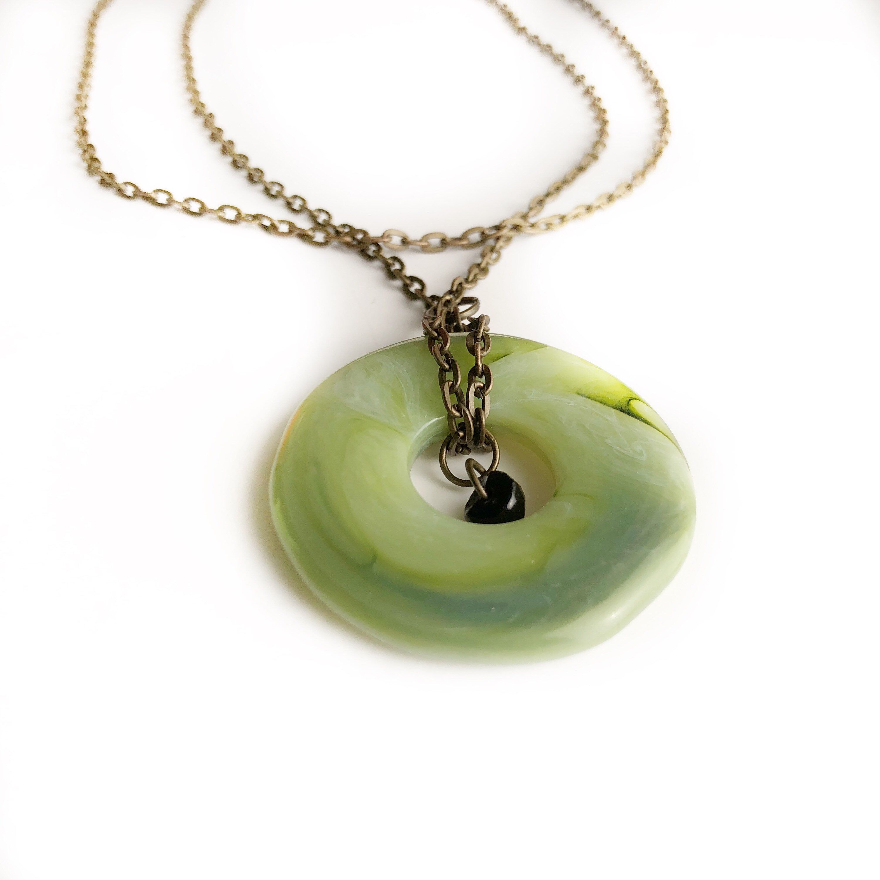 Jade circle pendant necklace funky necklace jade stone necklace excited to share the latest addition to my etsy shop jade circle pendant necklace mozeypictures Choice Image