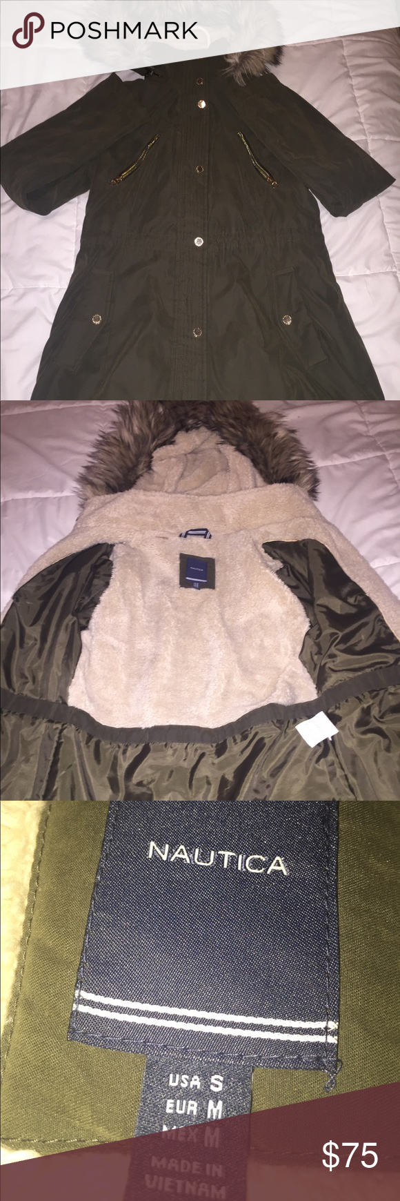Nautica Winter Jacket Faux Fur Removable Hood Faux Fur Jacket Winter Jackets Jackets [ 1740 x 580 Pixel ]
