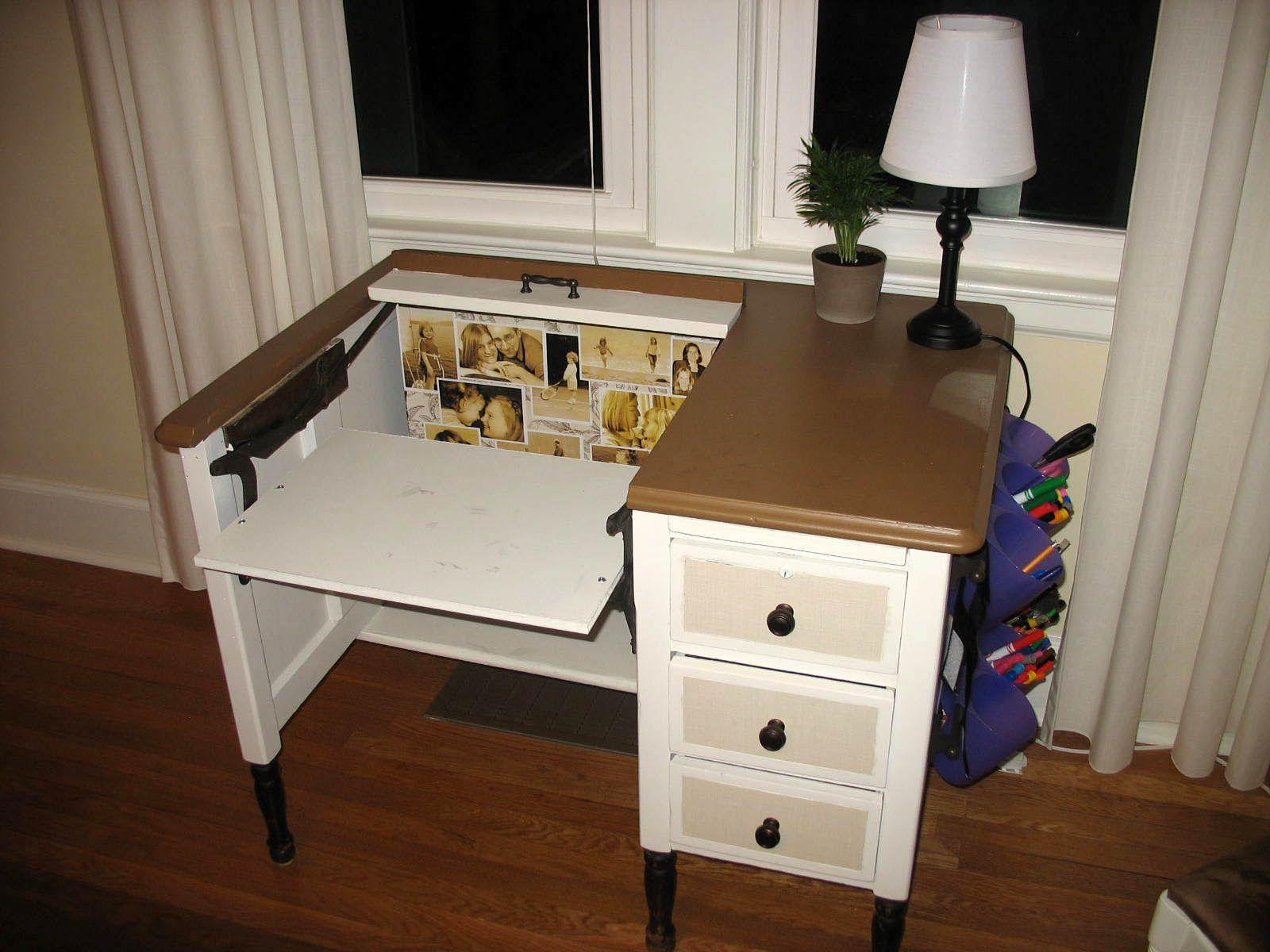 hidden computer desk   an Old, Broken Typewriter Desk into a