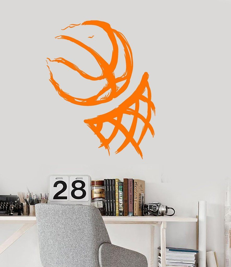 Vinyl Wall Decal Basketball Hoop Ball Sport Sports Fan Teen Room Stickers Unique Gift (ig3159) images