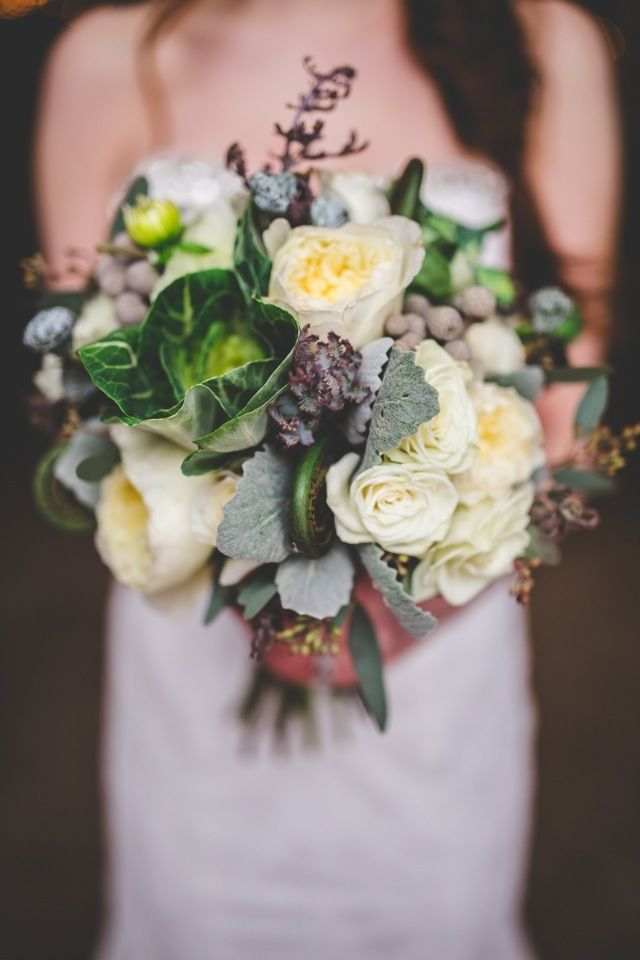 Leafy green and white #wedding bouquet | Kylee Ann Photography | see more on http://burnettsboards.com/2014/02/abandoned-warehouse-shoot/