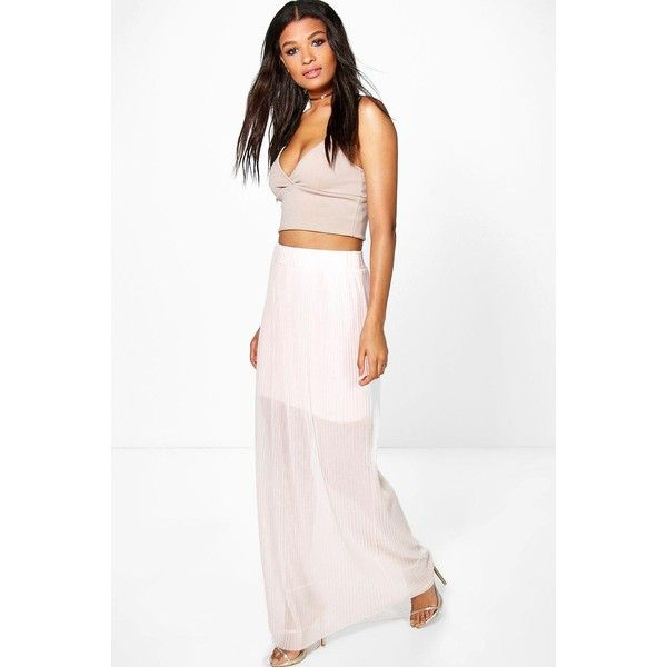 72d4c2f460 Boohoo Layla Pleated Mesh Maxi Skirt (665 INR) ❤ liked on Polyvore  featuring skirts