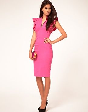 Enlarge Hybrid Dress with Deep V Neck and Frill Sleeves  6c2bbdf97
