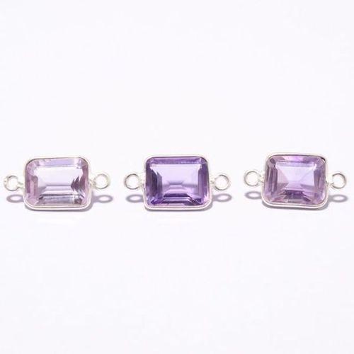 3 pcs amethys quartz rectangle cut stone loose connectors