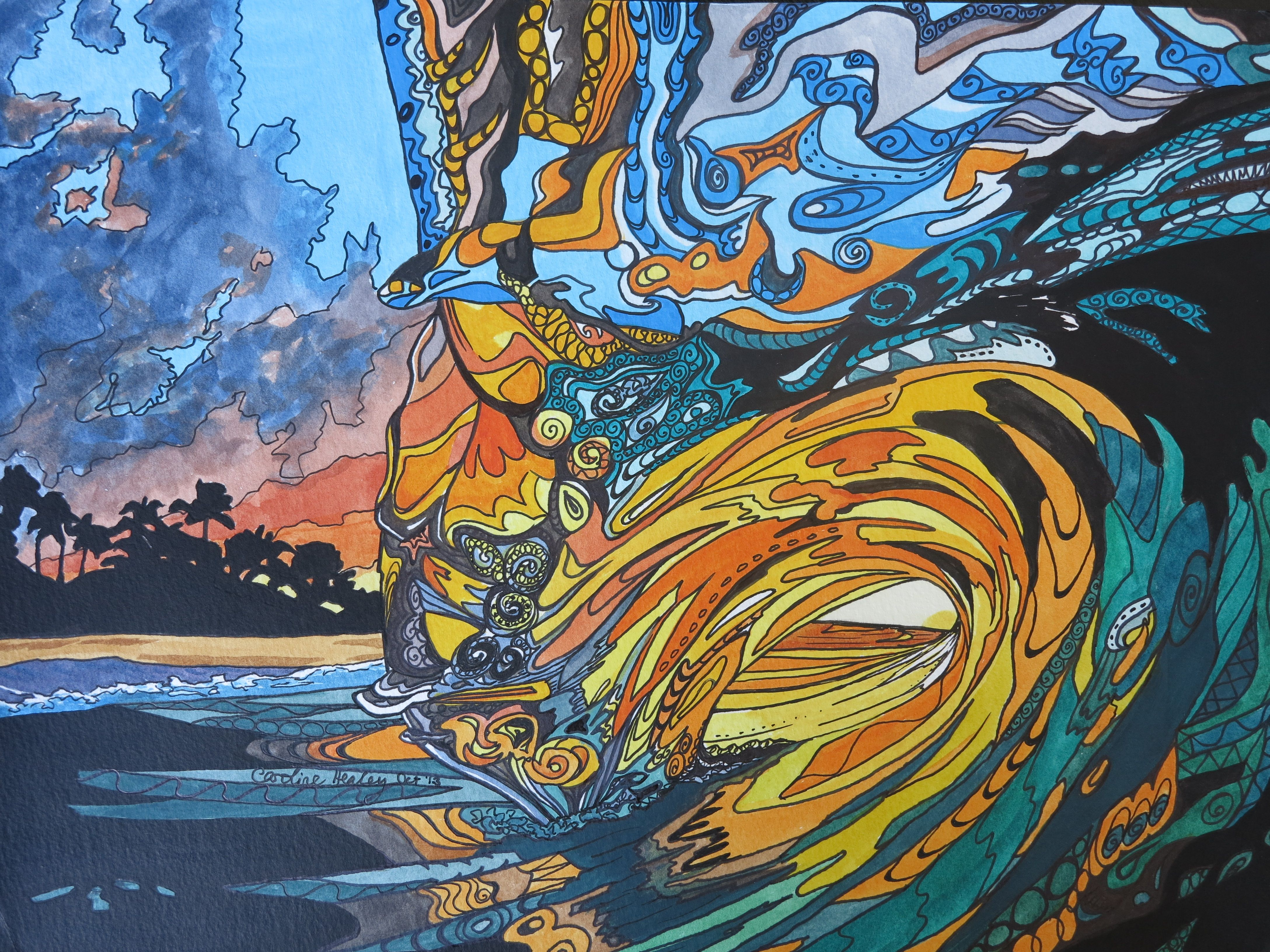 New painting sunset wave 2 i love hawaii with images