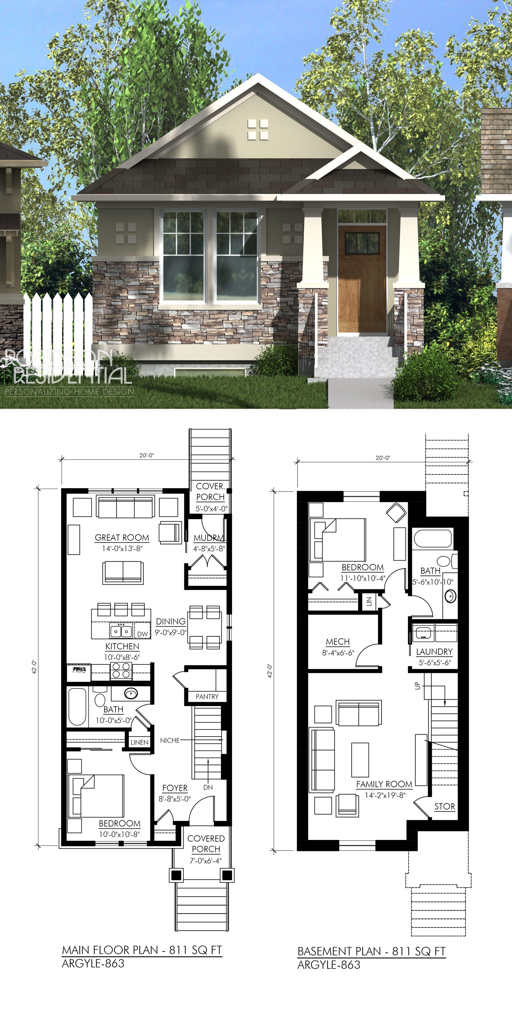 Craftsman Argyle 811 Small Bungalow Cottage Plan House Floor Plans
