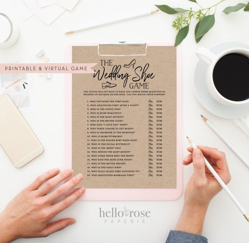 The Wedding Shoe Game . Virtual + Printable Bridal Wedding Couples Shower . Engagement Party . Printable Instant Download . Kraft + White