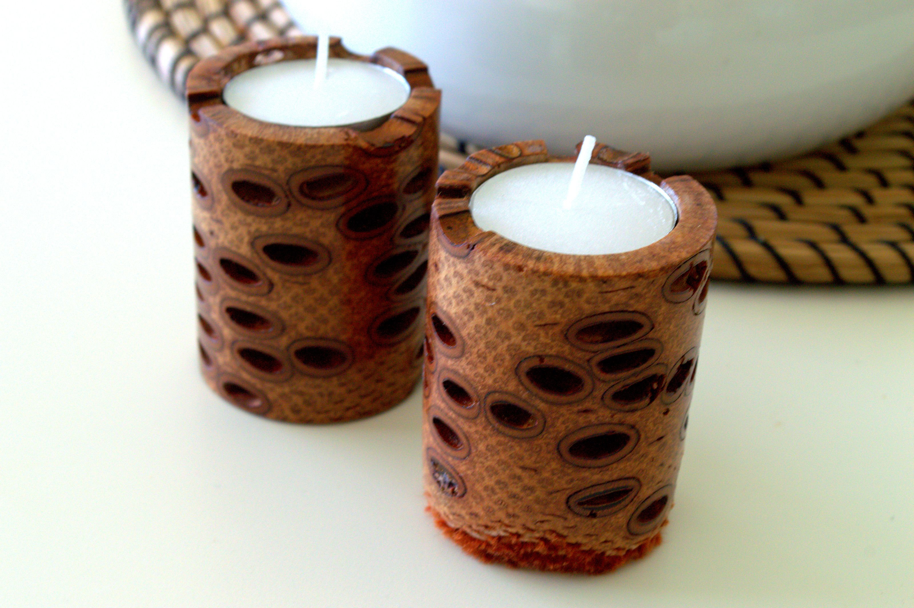 Wooden Candle Holders Australia Twin Candle Holders Banksia Pod Western Australia
