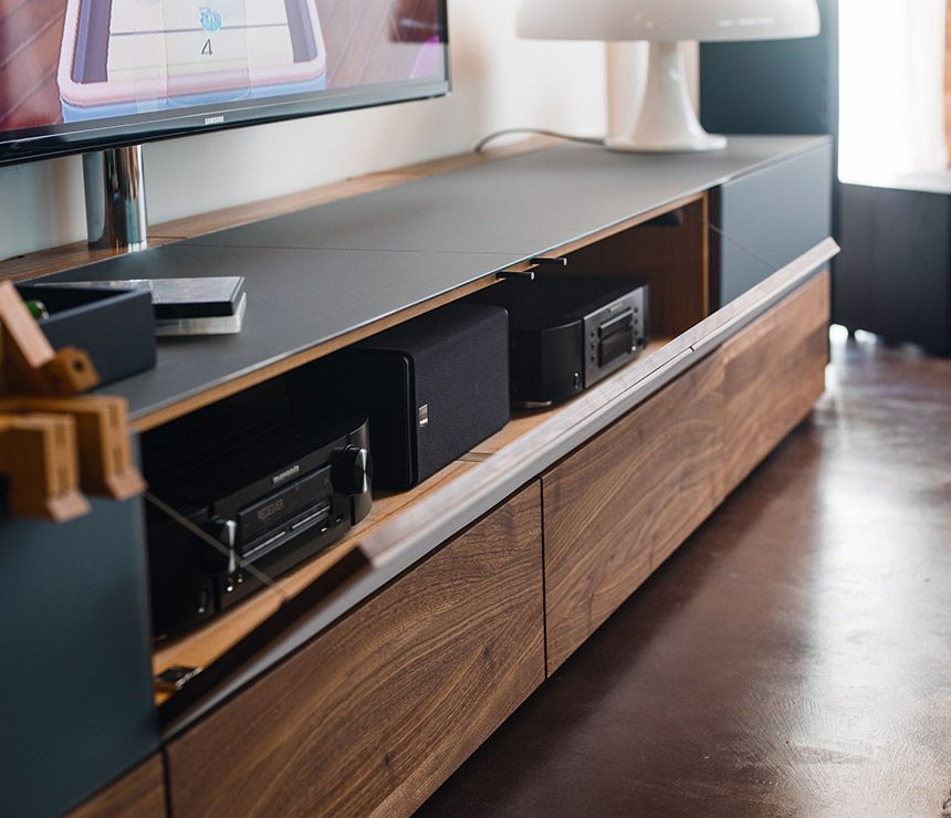 High-end Cubus media unit cabinets shown in charcoal black ...