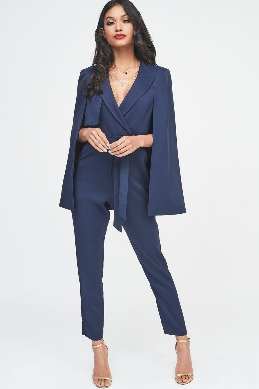 e9c896230d8 Tailored Cape Jumpsuit with Storm Flap in Navy - 6 UK in 2019 ...