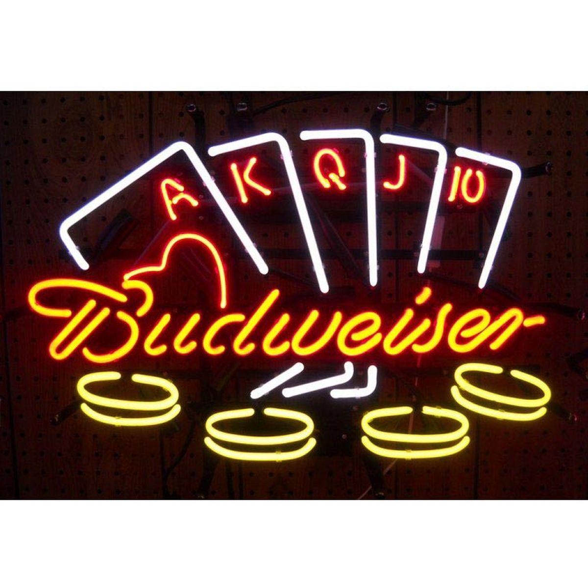 Budweiser Poker Neon Sign from ManCaveGiant.com | Neon