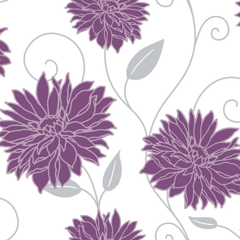 Floral Purple Grey White Home Decor In 2019 Wallpaper Pattern